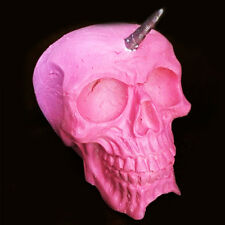 Pink And Silver UNICORN Skull | Ornament | Collectable | RARE | Unusual Gift