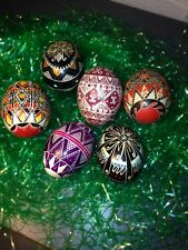 SET OF SIX VINTAGE UKRAINIAN EASTER EGGS HAND MADE FROM THE FIFTIES BEAUTIFUL!!