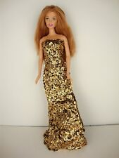Daring Set of 2 Sequined Fitted Gowns in Gold and Silver Made to Fit Barbie Doll