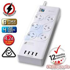 6 Way Outlet Surge Protector Power Board with USB Charging iPhone galaxy Charger