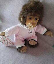 """12"""" Baby Monkey Pink Pajamas Bib Pacifier Plush Pajamas Chimp Ape Gorilla pillo"""