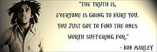 """Bob Marley """"Everyone Is Going To Hurt"""" Quote Poster Print 7""""x21"""" On Matte Canvas"""