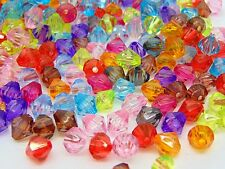 250 Pcs -  8mm Mix Acrylic Faceted Bicone Beads Kids Craft Jewellery Bead A89