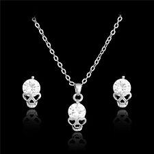 Silver Plated Crystal Skull Pendant Necklace Skull Stud Earring Set