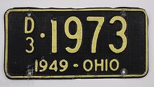1949 Vintage Original Ohio License Plate Tag 1973 Dealer Aluminum Waffle