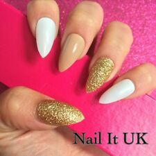 Hand Painted Full Cover False Nails. Stiletto Nude, White & Gold Nails. 24 Nails