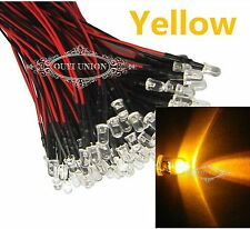 Yellow Pre Wired 3mm Bright  LEDs 20cm Prewired 12V Lamp Light  25 Degree  X1000