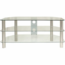 CLEAR GLASS 3 TIER TV XBOX STAND DVD UNIT PS4 SHELF LED/LCD/PLASMA UP TO 42""