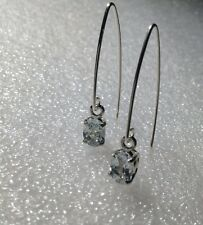 925 Sterling Silver Oval Cut Natural Aquamarine Dangle V Hook Earrings 1.80CTW