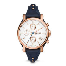 FOSSIL ES3838 Original Boyfriend Chronograph Navy Blue Leather 38mm Ladies Watch