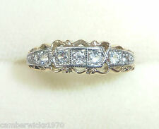 Antique Art Deco 9ct Gold & Palladium 5 Stone Natural Zircon Ring, Size L