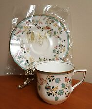 NEW 2-Piece CUP SAUCER Set Mikasa Contessina Bone China CAP13 Green Trellis Gold