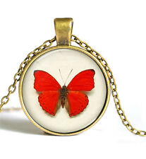 Vintage butterfly Cabochon Bronze Glass Chain Pendant Necklace Y#71