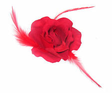 Red rose with feathers on a hair clip for ladies day Races