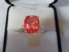 Padparadscha Quartz Ring Set In Solid Silver & Overlaid With Platinum.