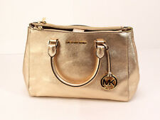 NEW Michael Kors Sutton Large East West Satchel Tote Handbag GOLD METALLIC