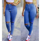 Sexy Women Pencil Stretch Denim Skinny Pants High Waist Hole Trousers Slim Jeans