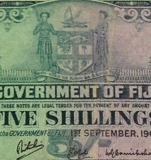 MY QE II Collection FIJI 5 shillings banknote 1964 very high grade detail  nice!
