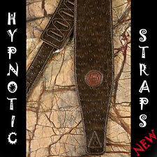 HYPNOTIC STRAPS LEATHER SUEDE PEACOCK DARK BROWN GUITAR BASS ACOUSTIC STRAP