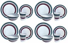 16PC Complete Dinner Set Plates Bowls Mugs Kitchen Service 4 Family Dining Set