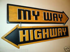 MY WAY HIGHWAY Embossed Metal Sign GM Ford Chevy HEMI Wall Decor Man Cave 3D USA