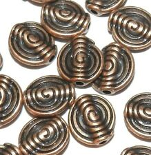 MB399p Antiqued Copper 10mm Flat Round Swirl Textured Metal Spacer Beads 20/pk
