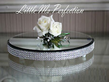ROUND DIAMANTE CRYSTAL MIRROR PLATE CAKE STAND WEDDING TABLE  CENTREPIECE 12""