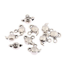 Teapot coffee pot kettle Tibetan Silver bead 3D charm Pendant fit bracelet 10pcs