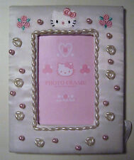 White Hello Kitty Photo Frame With Emboidered Roses Beads