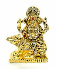 Hindu God idol / Murti /Statue /Car Idol -Gold Ganesh with Mouse and White Stone