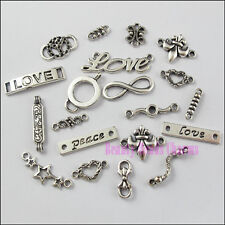 40Pcs Mixed Tibetan Silver 1-1 Connectors Charms Pendants