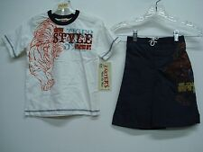 NWT Boy's Carters T-Shirt & Swim Shorts Outfit White/Navy Multi Size 6 #295K