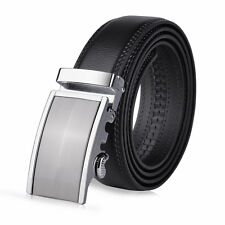 Vbiger Men Automatic Buckle Belts Black Leather Waist Strap Business Waistband
