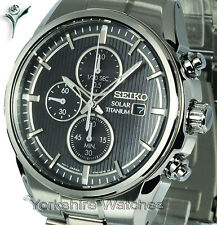 New SEIKO TITANIUM Black Face Chronograph with Titanium Bracelet SSC367P1