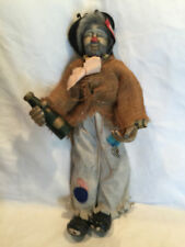 "Vintage Crafted 19"" Porcelain/Cloth Hobo Clown Doll Holding Champagne Bottle"