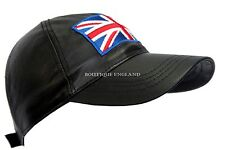 BASEBALL Black Union Jack England Unisex Nappa Leather Hip-Hop Cap Hat
