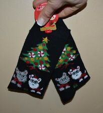 Holiday Socks Dog with Santa hat by Christmas tree Size 9-11 Super Cute