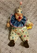 """Whimsical Clown Bean Bag Fabric Doll-by Russ """"Corkles"""" with tag-Clay Face-Unique"""