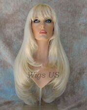 """Long Wig Light Blonde Face Frame Layers Center Skin Part Bangs 26"""" Dory Wigs US"""