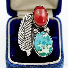 Vintage Native Pawn Navajo Sterling Silver Turquoise & Red Coral Ring Sz 6.5