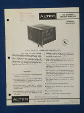 ALTEC 770A CROSSOVER OPERATING OWNER MANUAL ORIGINAL W/ SCHEMATIC GOOD COND V2