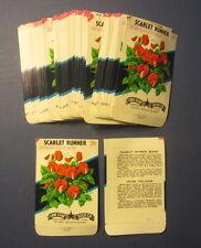 Wholesale Lot of 100 Old Vintage - SCARLET RUNNER - FLOWER - SEED PACKETS