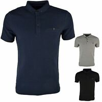 Dissident 'Dalwood' Men's Textured Stripe Polo Shirt Casual Top T-Shirt