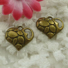Free Ship 70 pieces bronze plated heart charms 18x17mm #1300