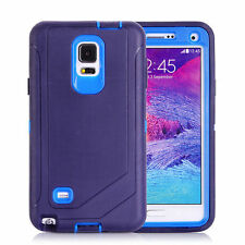 For Samsung Galaxy Note 4 Defender Outer Case Protective Cover w/Clip Navy Blue