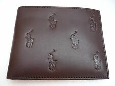 NWT POLO RALPH LAUREN MENS ALLOVER GENUINE LEATHER PASSCASE brown WALLET