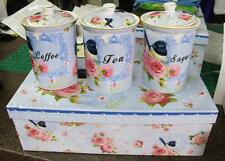 Retro Kitchen Canisters Tea, Coffee Sugar Set Blue Wren with Seals Ceramic Med