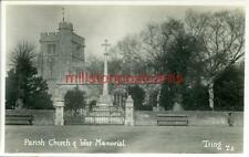 REAL PHOTOGRAPHIC POSTCARD THE PARISH CHURCH & WAR MEMORIAL, TRING HERTFORDSHIRE