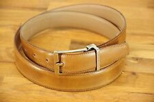 Moreschi Light Brown Sumatra Leather Belt Removable Silver Buckle Italy 36