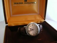 Lovely Vintage Gents BULOVA ACCUTRON Stainless Steel Wrist Watch & Original Case